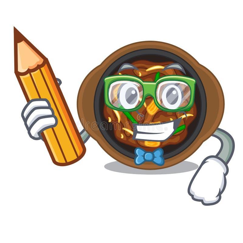 Student bulgogi in a the bowl cartoon. Vector illustration royalty free illustration