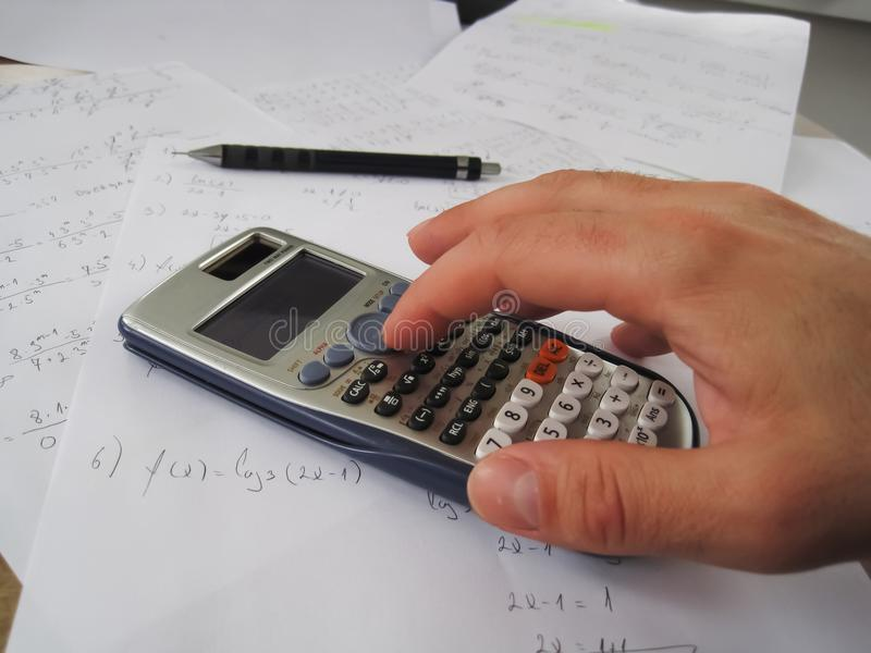 Student calculating stock image