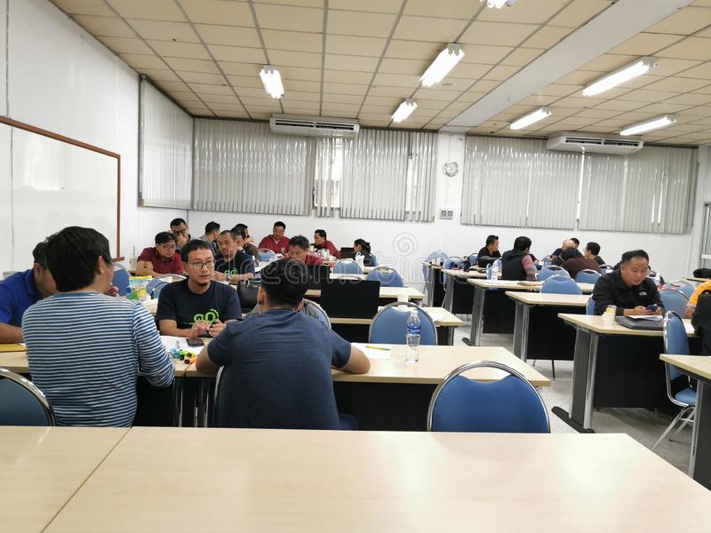 The student discussion in engineering law course master degree University Bangkok Thailand on September 28th royalty free stock photo