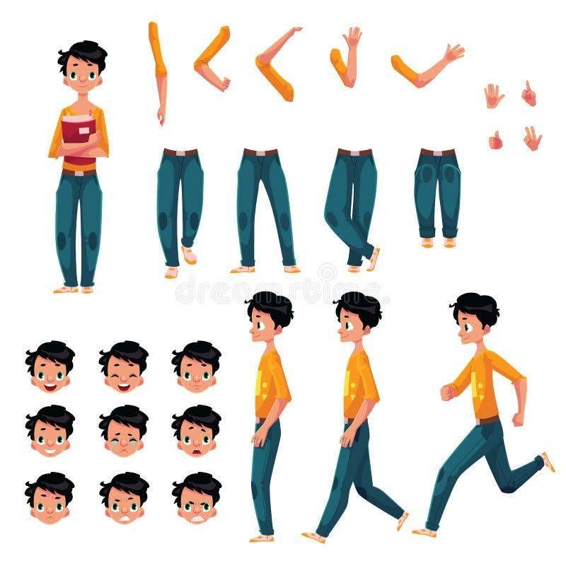 Student, Charakterschaffungssatz des jungen Mannes, verschiedene Haltungen, Gesten, Gesichter vektor abbildung