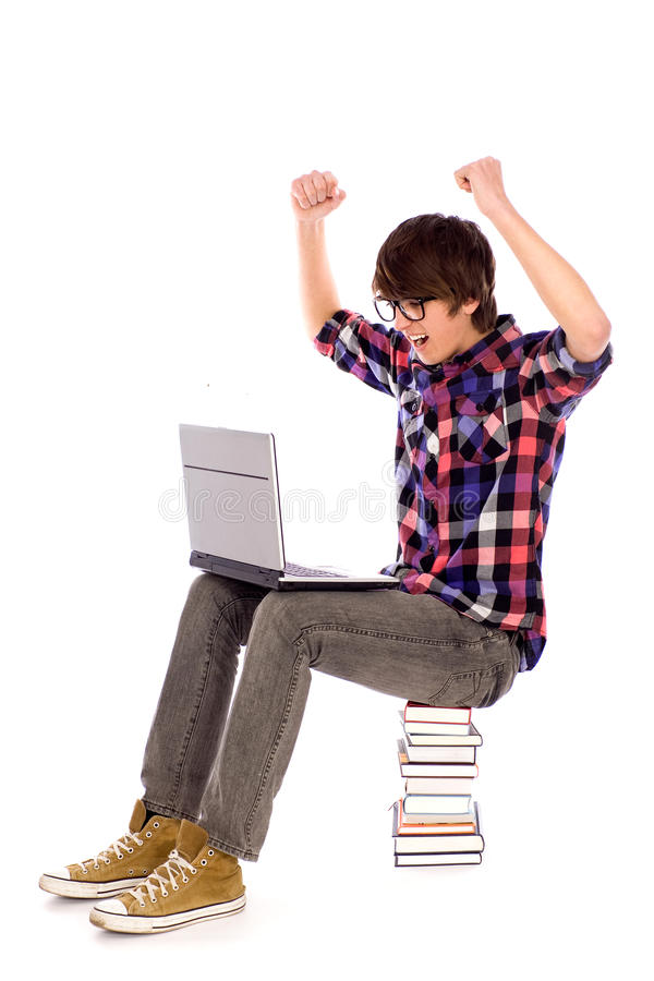 Student cheering with laptop stock image