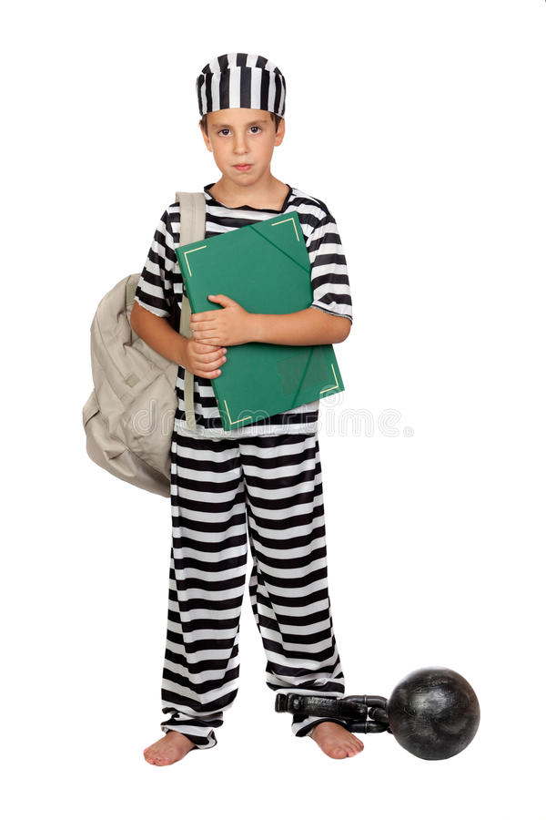 Student child with prisoner costume. On white background royalty free stock photo