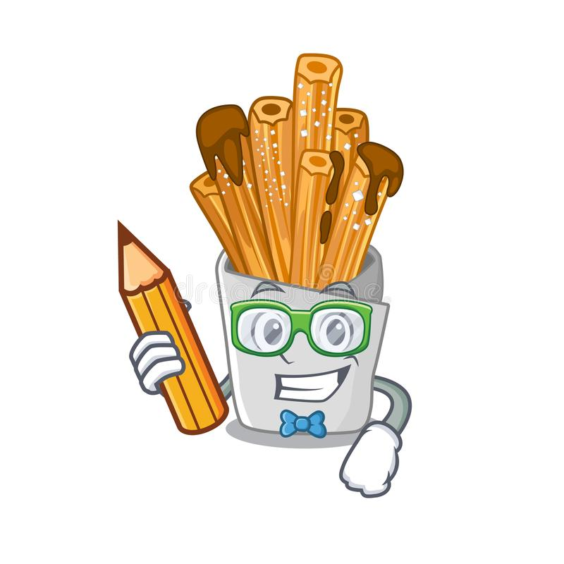 Student churros isolated with in the cartoon. Vector illustration royalty free illustration
