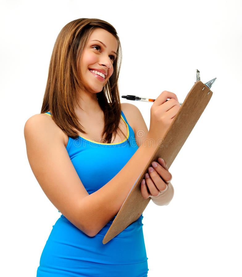 Download Student with clipboard stock image. Image of brunette - 21786691