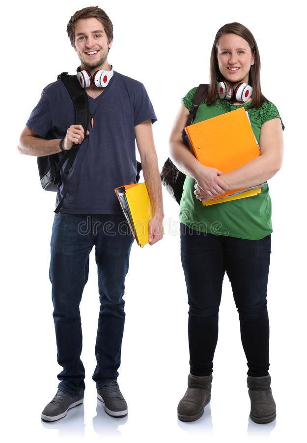 Student couple young woman man full body portrait smiling people. Student couple young women men full body portrait smiling people isolated on a white background royalty free stock image