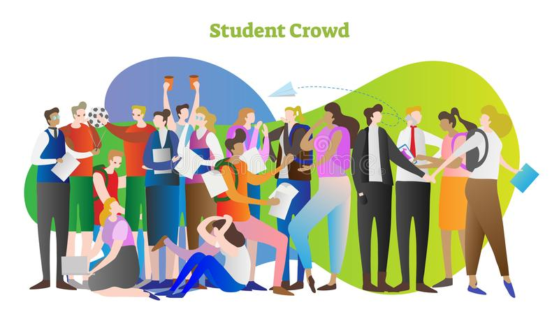 Student crowd vector illustration. Group of young people in college or university. Standing teacher and sitting girl with laptop. royalty free illustration