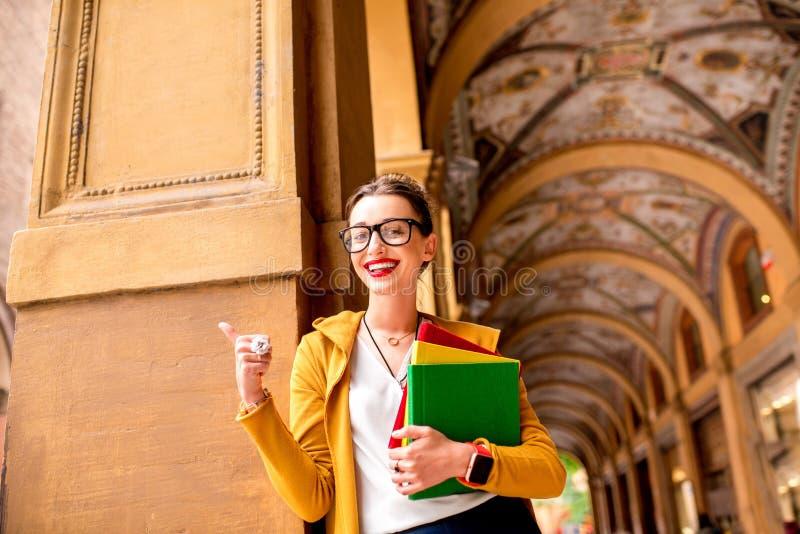 Student in de stad van Bologna royalty-vrije stock foto's
