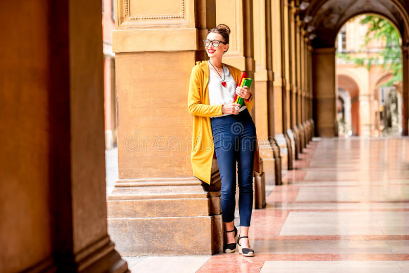 Student in de stad van Bologna royalty-vrije stock foto