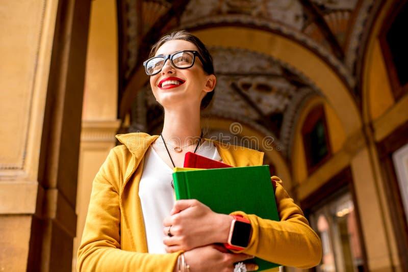 Student in de stad van Bologna royalty-vrije stock afbeeldingen