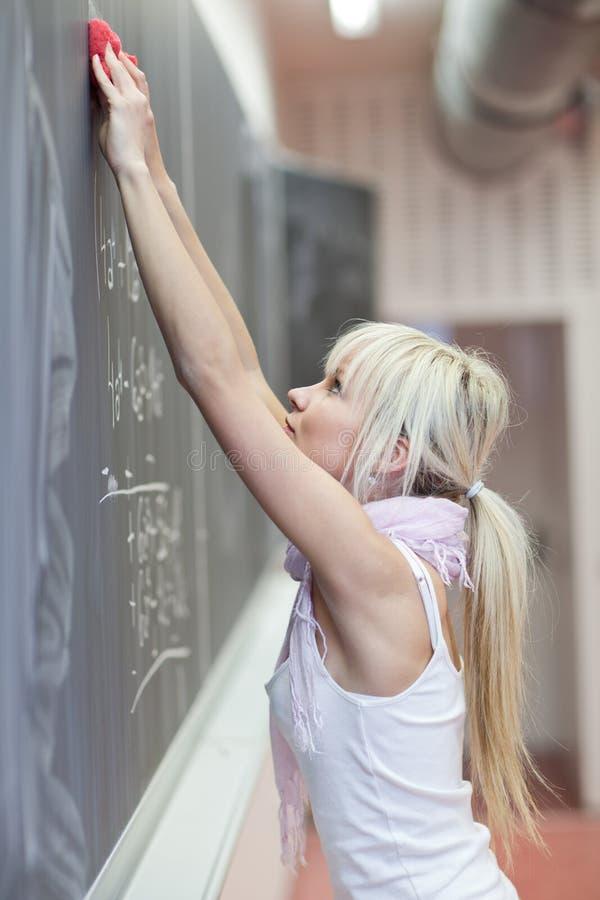 Student, der die Tafel löscht stockbilder