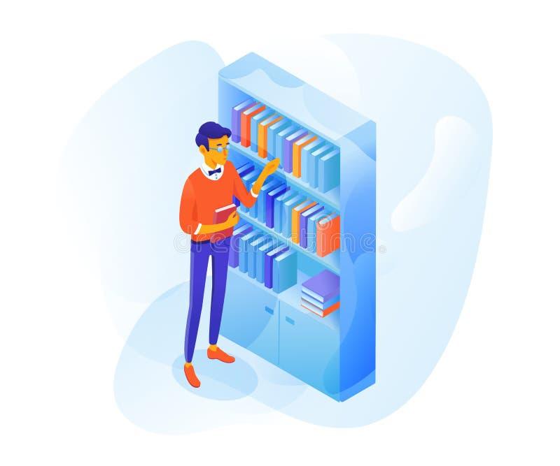 Student in der flachen Illustration des Bibliotheksvektors Farb stock abbildung