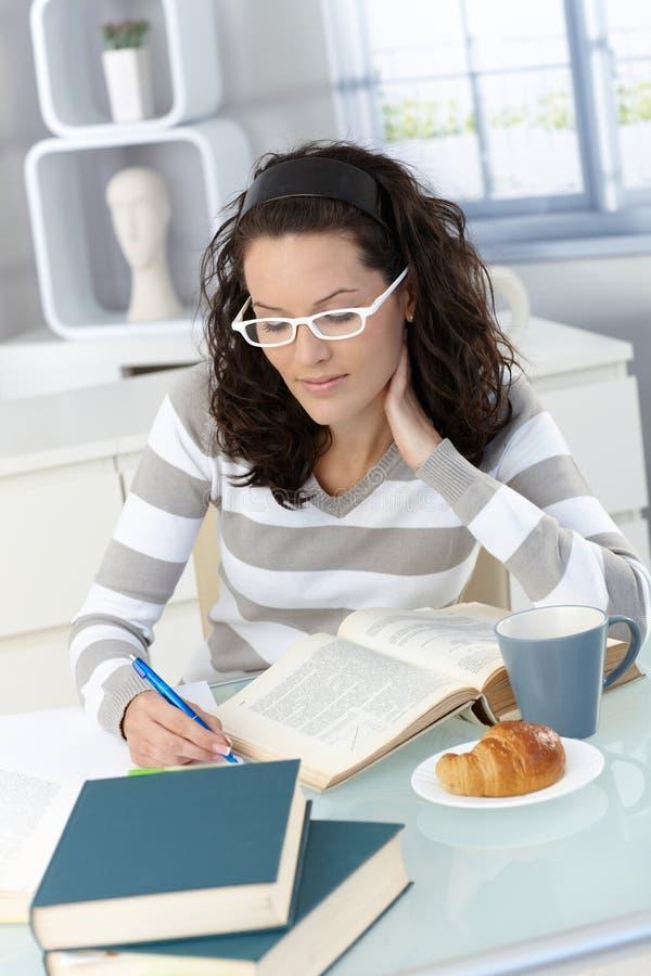 Student, der am Frühstück studiert lizenzfreies stockfoto