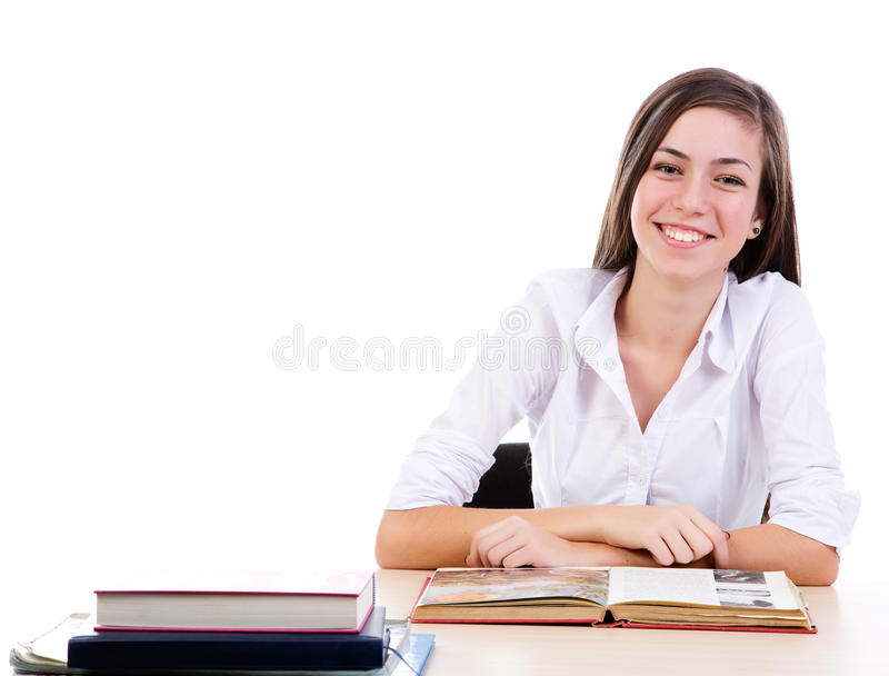 Student at desk stock photos