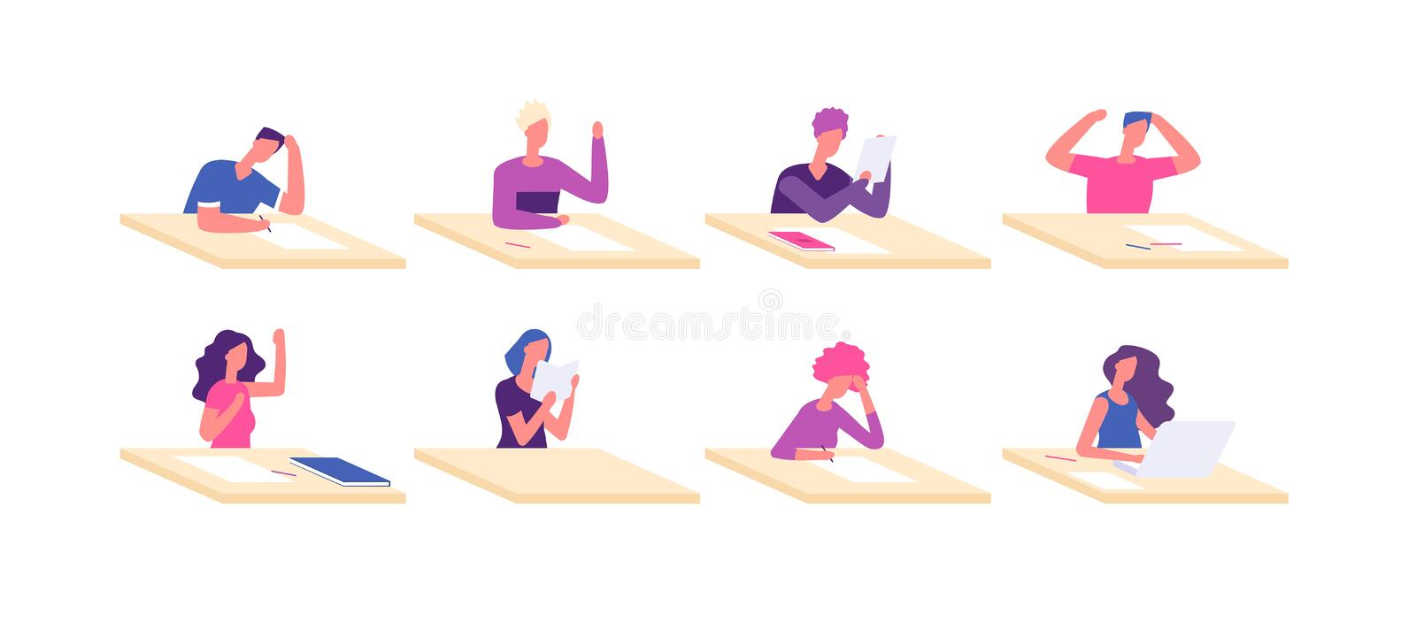 Student at desks. Young boy girl sitting desk pupil teenagers at tables preparation school test college examination stock illustration