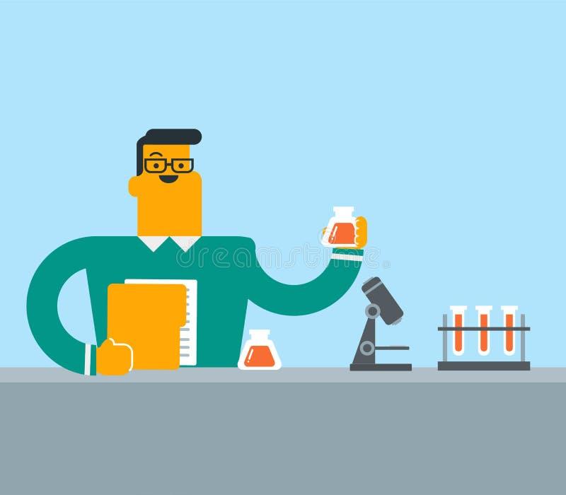 Student die experiment in laboratoriumklasse leiden vector illustratie