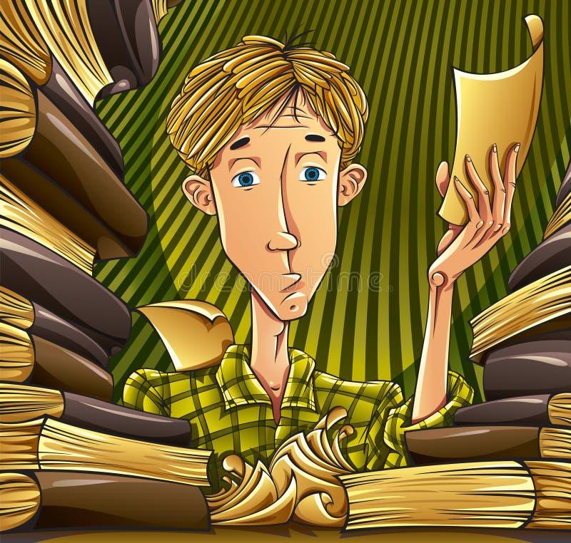 Student die hard leert. stock illustratie