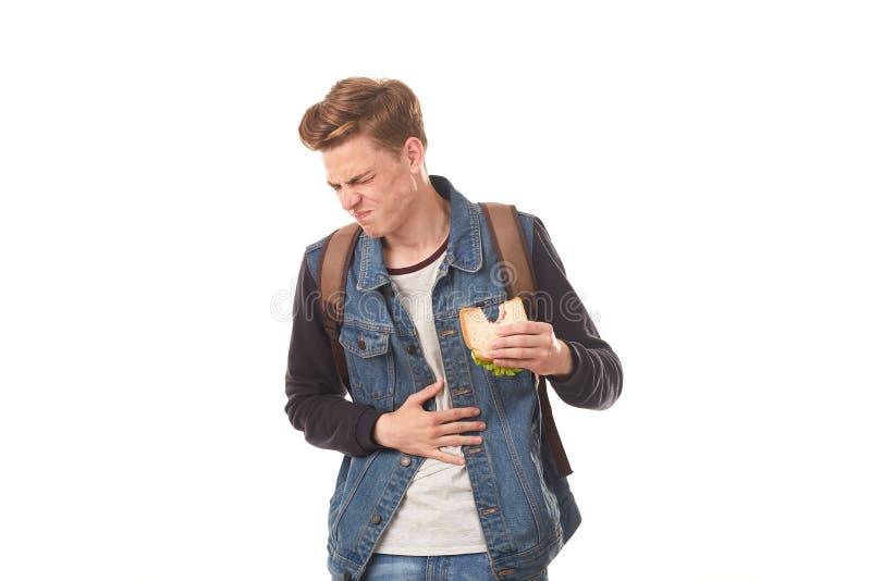 Student die rotte sandwich eten royalty-vrije stock afbeeldingen