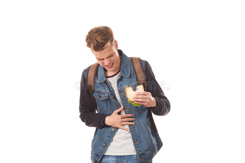 Student die rotte sandwich eten stock foto
