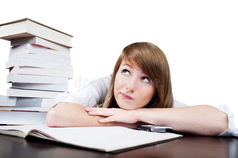 Student die tijdens les droomt stock afbeelding