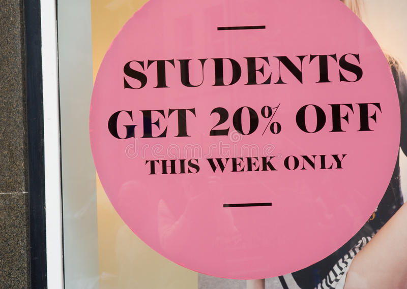 Student discount offer. royalty free stock photo