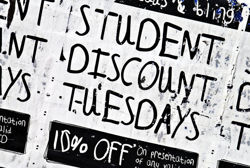Student Discount Poster #1. Poster saying student discount 10%. Copyspace royalty free stock photography