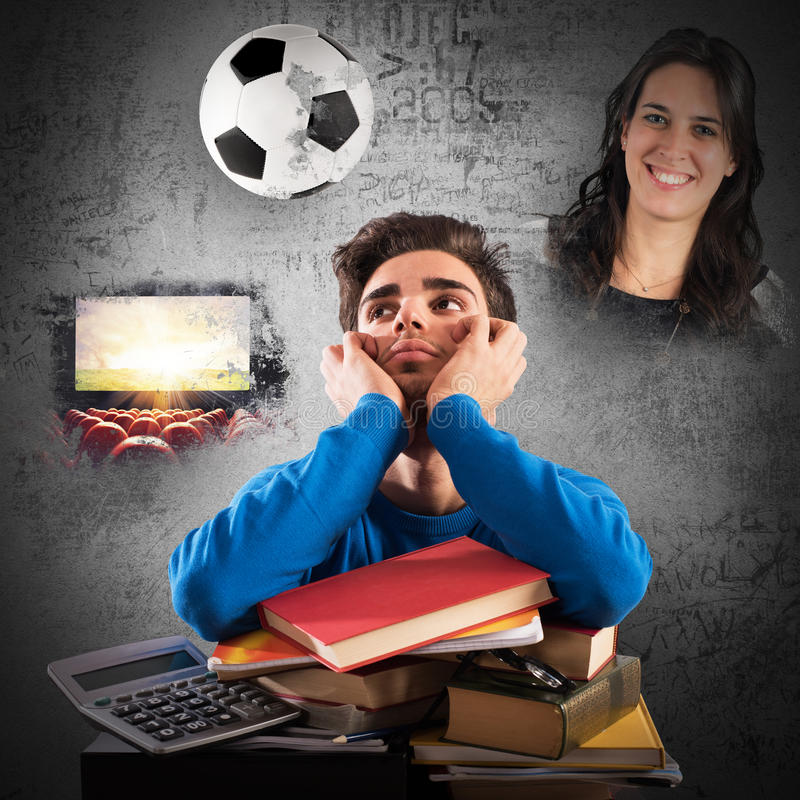 Student distracted. From what he would do royalty free stock photography
