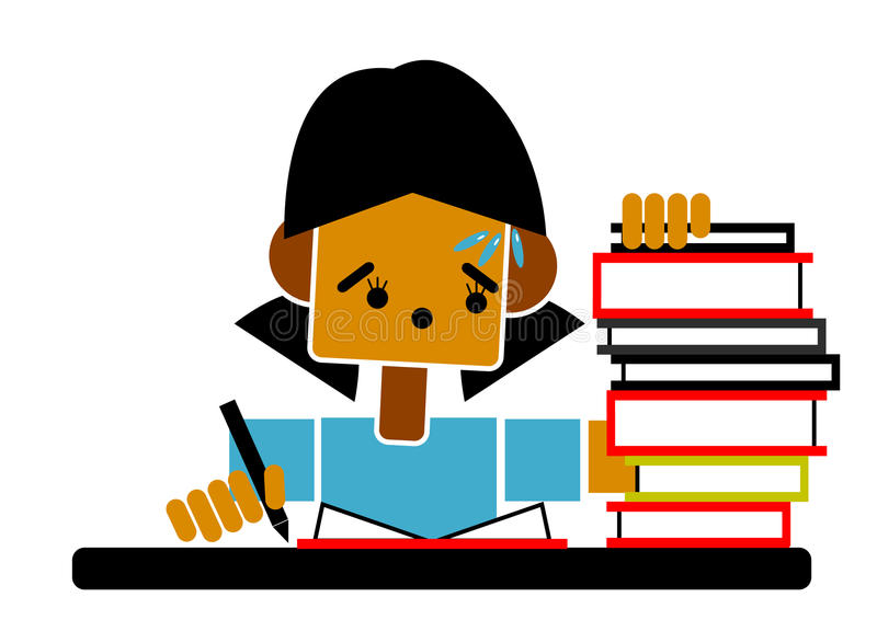 Student doing homework. Graphic of a student doing lots of homework royalty free illustration