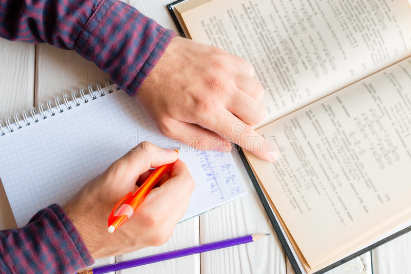 Student doing homework stock images