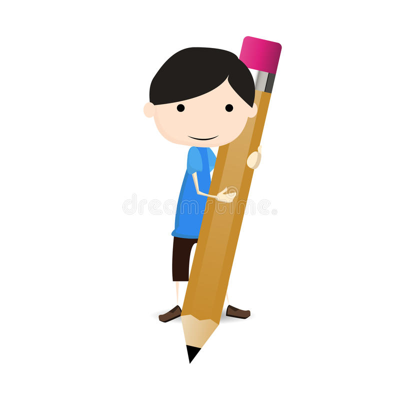 Free Student Draw A Big Pencil Royalty Free Stock Photos - 31573808