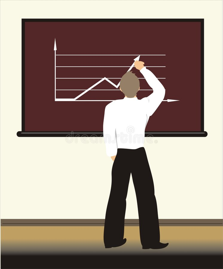 A student draws the graph on a board royalty free stock photos