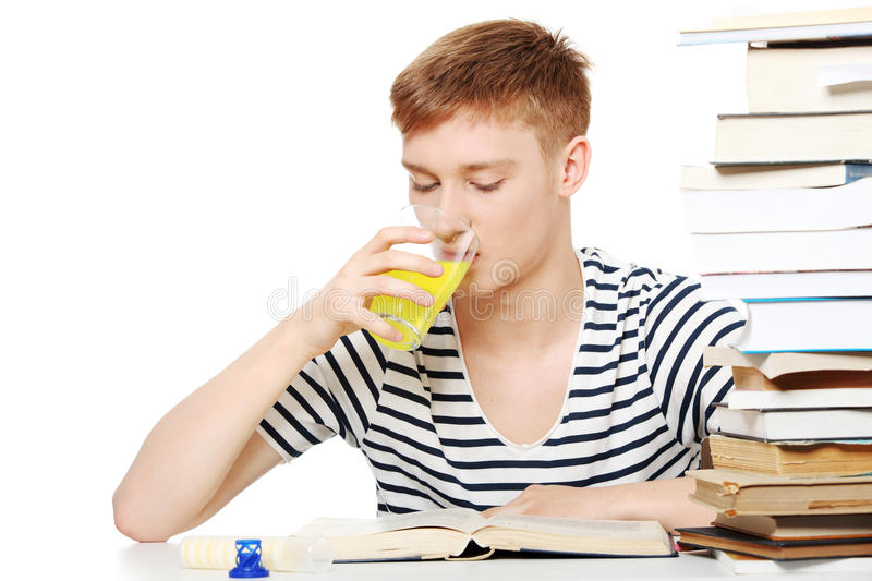 Download Student Drink Diet Supplement While Learning Stock Photo - Image: 19679822