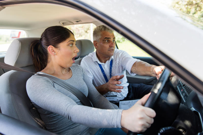 Student driver making mistake stock photo