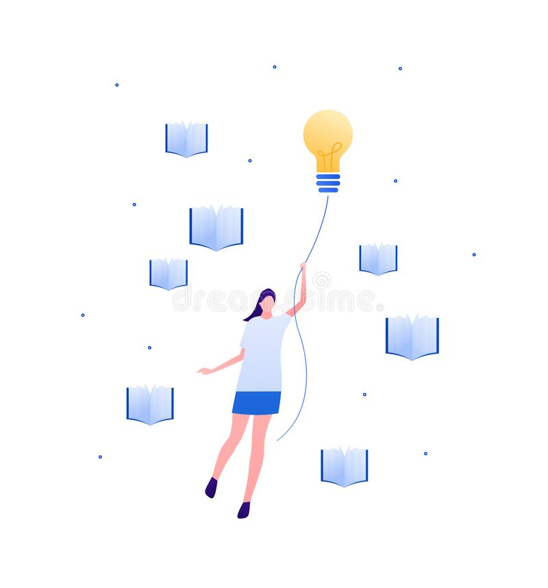 Free Student Education And Success Concept. Vector Flat Illustration. Young Adult Woman Fly And Hold Lightbulb Insight Idea Symbol. Stock Image - 186398031