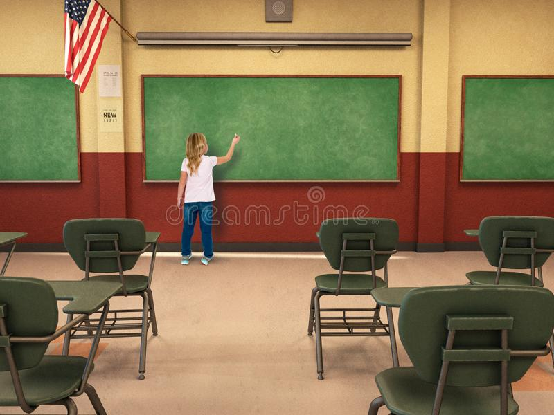 Student, Education, School, Classroom, Learning, Chalkboard, Children. A young girl is writing on a chalkboard in a school classroom. Education, learning royalty free stock photography