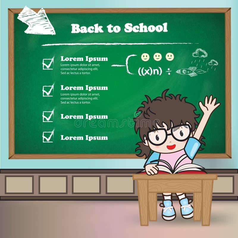 Student in een klaslokaal voor terug naar schoolthema stock afbeelding
