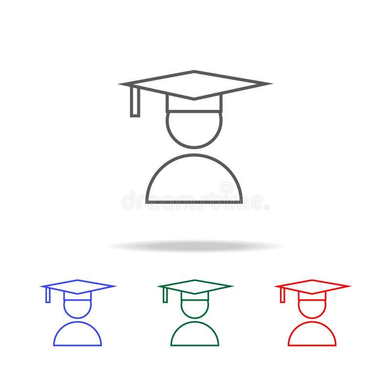 Student- eller skolasymbol Beståndsdelar av mång- kulöra symboler för utbildning Högvärdig kvalitets- symbol för grafisk design E stock illustrationer