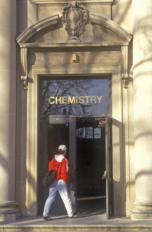 Student Entering Chemistry Building, University of Iowa, Iowa City, Iowa royalty free stock photography