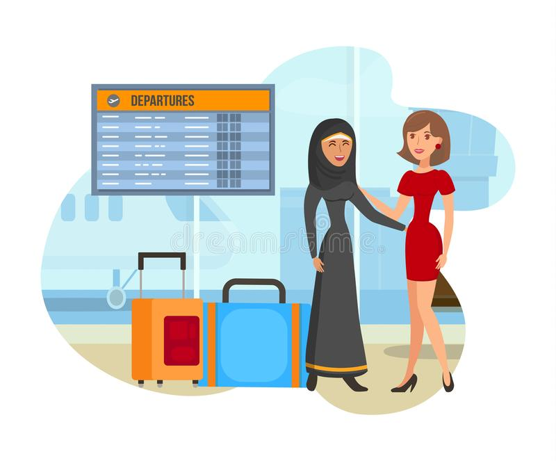 Student Exchange Program Flat Color Illustration. Businesswoman and Arabic Woman Cartoon Characters. Female Entrepreneur in Dress Talking to Girl in Abaya and stock illustration