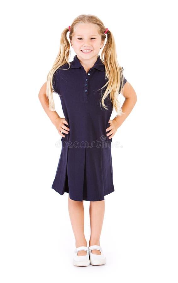 Student: Förkläde för privatskolastudentIn Uniform Of klänning fotografering för bildbyråer