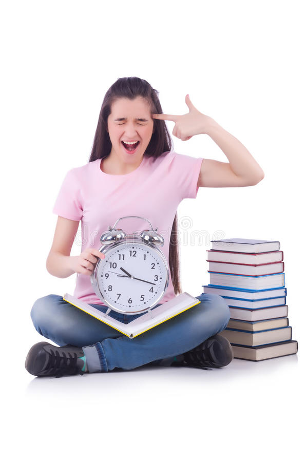 Student failing to meet deadlines. For her studies stock photography