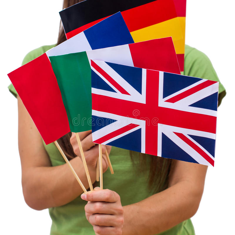 Student Female with International Flags stock photos