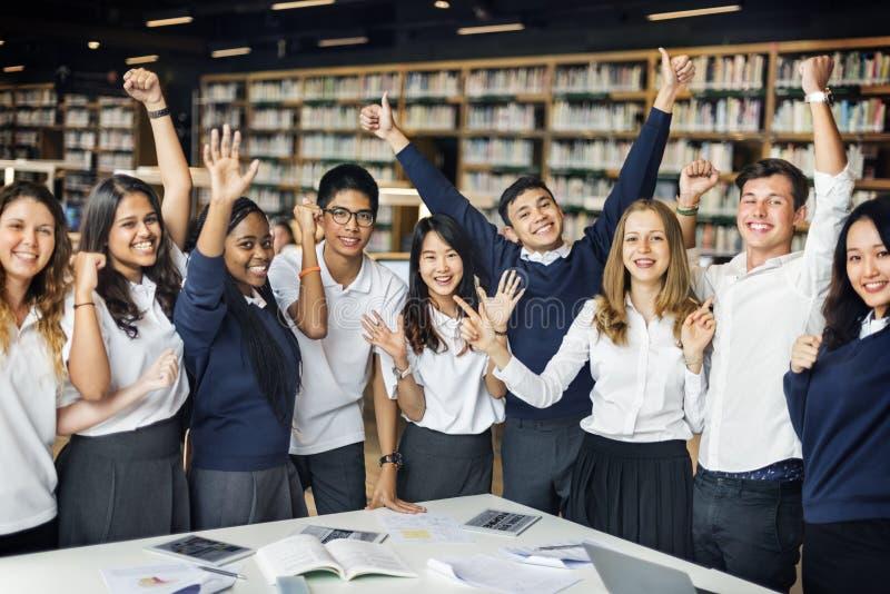 Student Friends Library Campus die Universiteitsconcept bestuderen royalty-vrije stock afbeelding