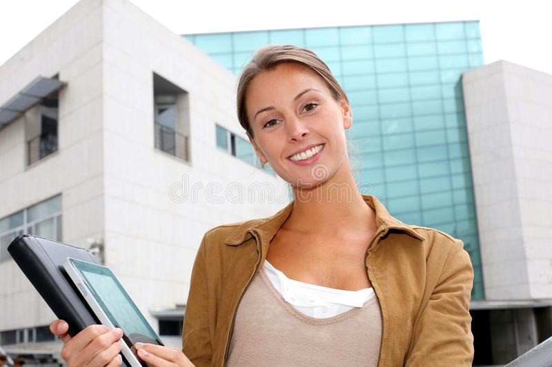 Student in front of building royalty free stock photography