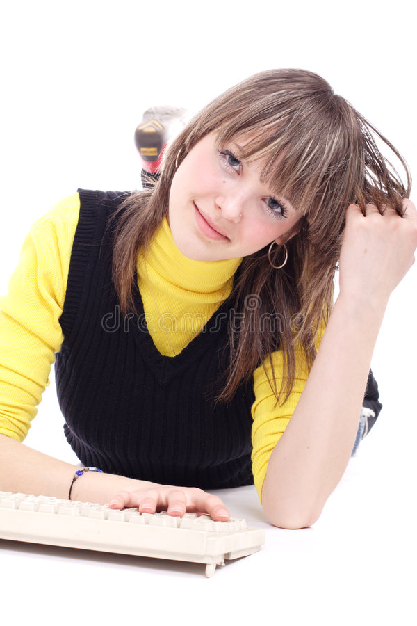 Download Student girl stock photo. Image of computer, study, facing - 2302640