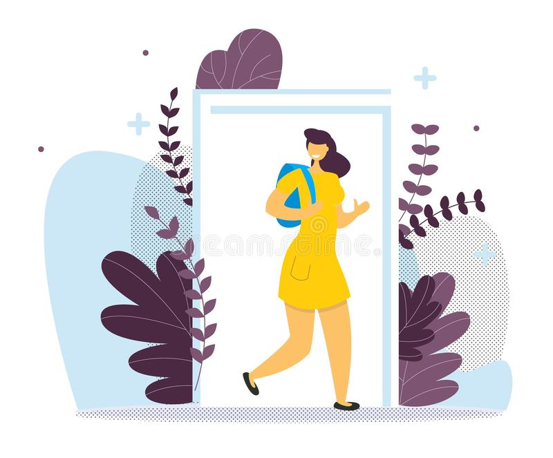Student girl with backpack concept door vector. royalty free illustration