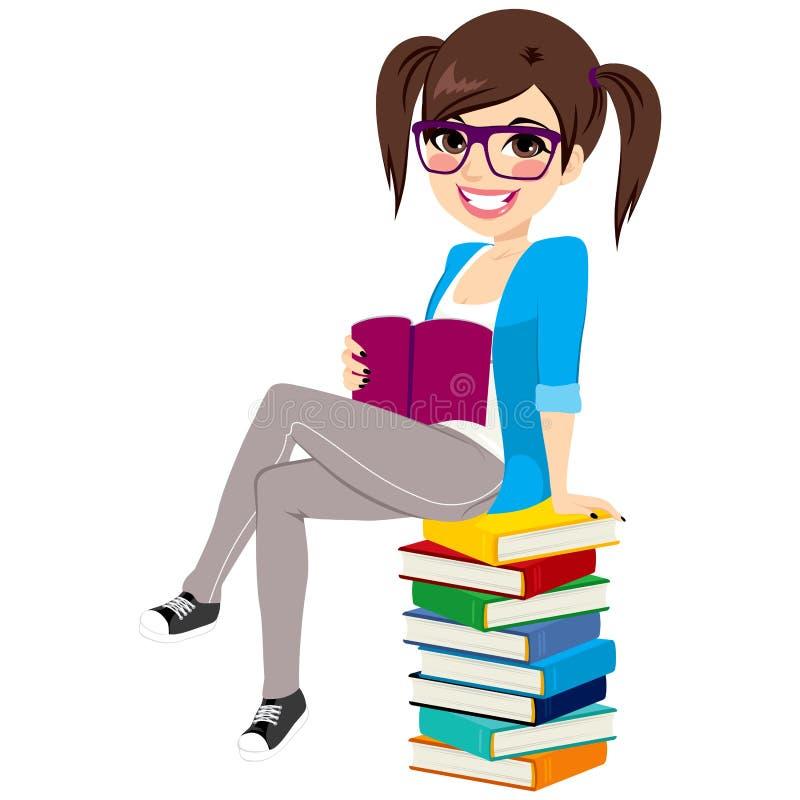 Student Girl Book Pile royaltyfri illustrationer