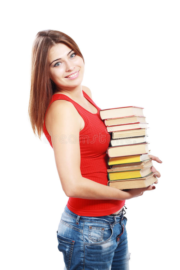 Download Student girl with books stock photo. Image of read, school - 33410472