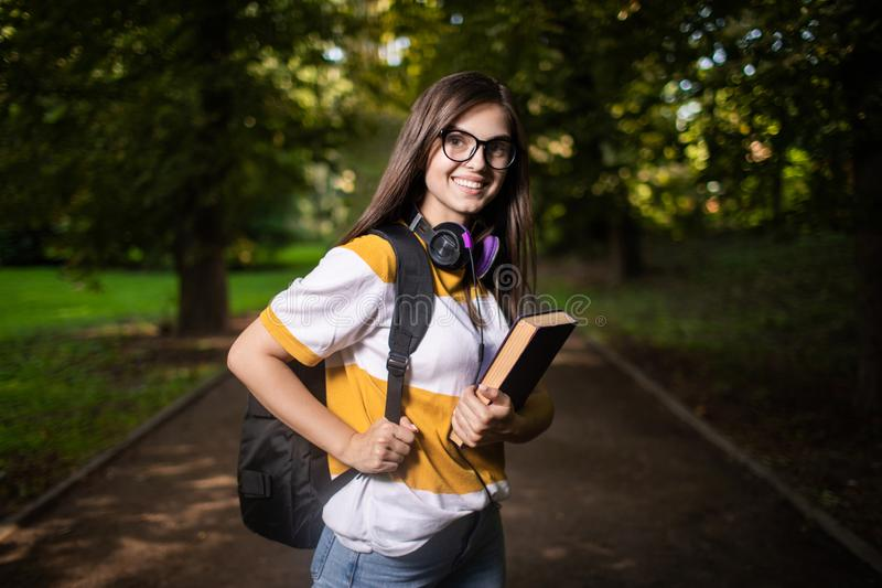 Student Girl on Campus Park Path stock images