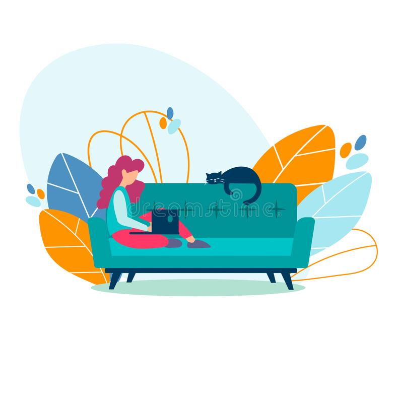 Student girl, freelancer studying, working on a laptop at home stock illustration