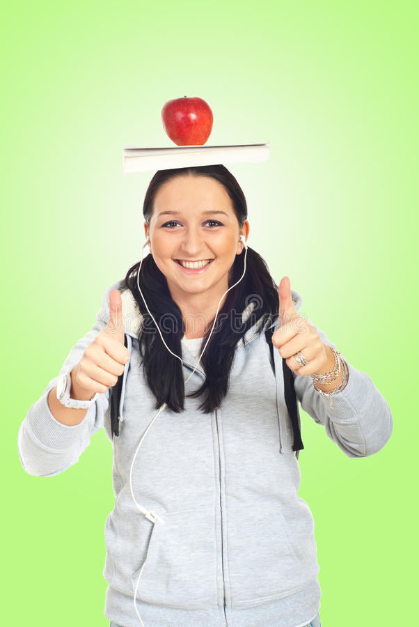 Download Student girl giving thumbs stock photo. Image of healthy - 17754624